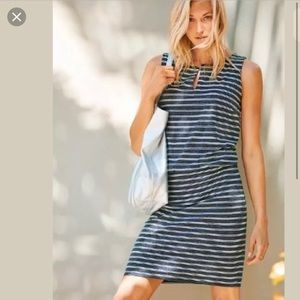 Athleta Navy White Stripe Vida Dress Sz Medium